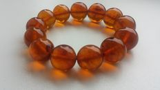 Beautiful amber bracelet, honey color  Beads, Natural pressed Baltic amber