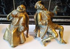A couple of bronze statues of tipplers - ca. 1910