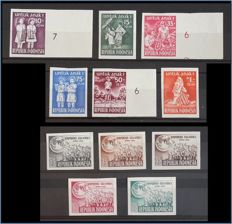 Indonesia 1954/1955 – Imperforate proofs – Sunflower 127/132A, 133/136A and 134AB, with expert's certification