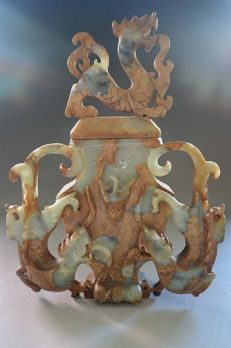 Very  Exquisite hard stone dragon temple incense burner/Urn /Jar - China - late 20th century