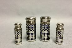 Two sets of pepper- and salt shakers, large and small, with blue glass, England, from 1955