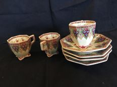 Sarreguemines - 3 coffee cups and 4 saucers Peking style decoration