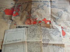 WW2: Two world maps (knapsack writing) with the colonies of the largest powers.