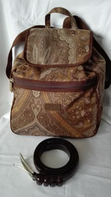 Lot of 2 - Etro Milano - Backpack and Fendissime belt