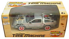 Back to the Future - Delorean Time Machine model car from Welly scaled 1:24, Panini sticker album, 45rpm record