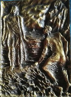 """Pericle Fazzini – high relief – """"Dante meets Virgil"""" – 2nd half of the 20th Century"""