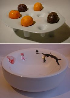 Willem Noyons and Marcel Wanders - Lot of two artistically designed bowls:  'FRUIT and FIRE' + 'Passion'
