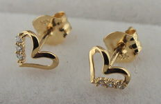 14 kt gold earrings with zirconia
