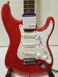 Squier Bullet Strat signed by guitar legend Steve Vai - with COA of PSA/DNA