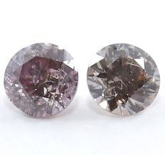 Pair of diamonds - intense pink/purple - 0.04 ct each for a total of 0.08 ct.