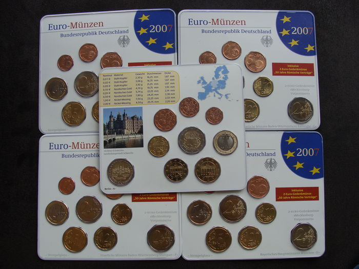 Germany Year Pack 2007 A D F G J Incl 5 X 2 Euro Mecklenburg