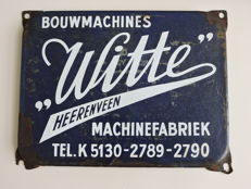 White Heerenveen Machine factory construction machines-old enamel plate