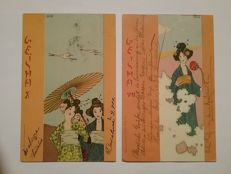 Five artist postcards Raphael Kirchner Japan series - postally used around 1900.