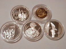 Poland -5x 10 Zlotych  1998 - 2006 all 925 silver.