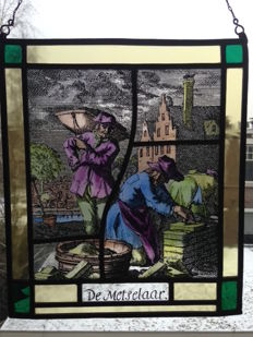 "Lovely, old stained glass sun catcher with pieces of mosaic ""The bricklayer"" 20th century"