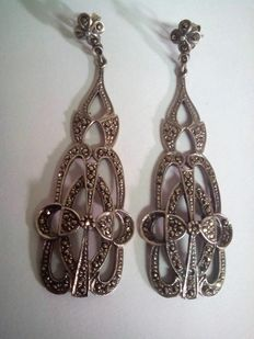 Bride's earrings made of silver and marcasites.