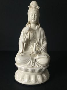 Statue representing Guanyin in white porcelain - China - 20th century