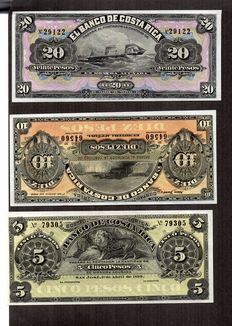 Costa Rica – 20 colones, 10 colones and 5 colones, 1895-1905, Costa Rica.