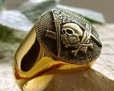 AJS unique Jewellery - Masonic ring - Surgical steel 316L + 24 K gold plated.