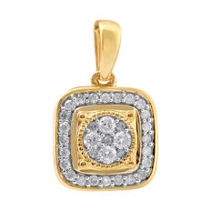 No reserve . Brand New Diamond Cluster pendant made from 18kt yellow gold. Studded with 0.25ct of Round brilliant cut diamonds . GH/P3 diamond quality.