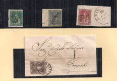 Tuscany - 1851/60 - Stamps on fragment - Some signed - Sassone 4, 6, 19 and 20.