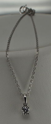 14 kt white gold necklace with diamond 0.10 ct