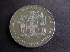 Jamaica – 25 Dollars 1978 '25th Anniversary of Coronation' – silver