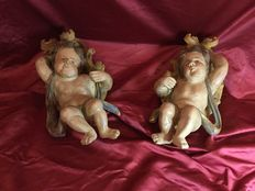Pair of polychrome wooden cherubs - Central Europe - 18th century