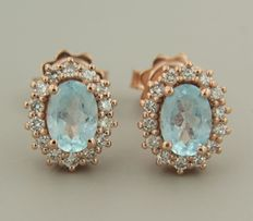 Rose 14 kt gold rosette ear studs set with topaz and brilliant cut diamonds ****no reserve price****