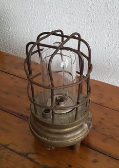 Heavy large original industrial cage lamp, miner's lamp 1930s/1940s