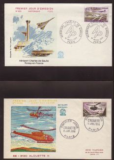 France 1955/1986 - Special Airmail, set of Airmail envelopes with First Day seal