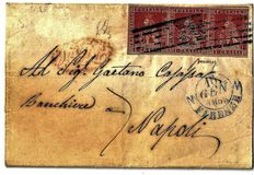 Tuscany, 1851 - Strip over three 1 crazia stamps (Sassone # 4d) on letter from Florence to Naples.