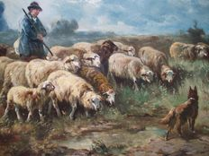Henry Schouten (1857-1927) – Shepherd with herd of sheep