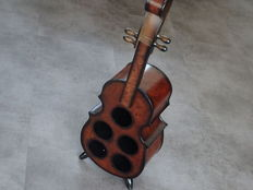 Mahogany wooden deluxe room wine rack in the shape of a musical instrument / height 88 cm