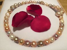 Ø 17 mm Large Baroque pearl necklace - 925 silver clasp - No reserve price