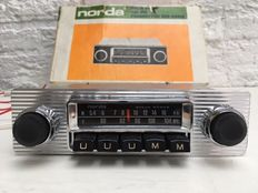 Norda Solid State - car radio with loudspeaker and aluminium front; Norda push button model CB405 with AM/FM - early 1970s