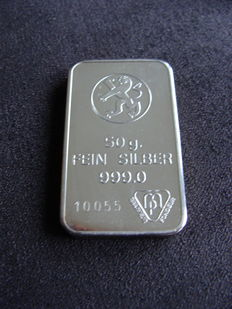 Silver bar 50 grams Bank Leu Zurich