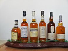 Wooden display with the 6 Classic Malts.