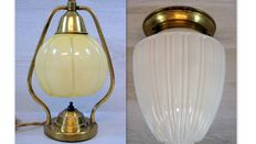 Art Deco style copper ceiling and table lamp with original glass shades, Netherlands, approx. 1950