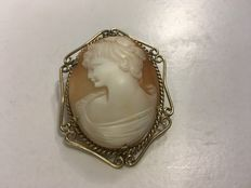 Rolled gold antique cameo brooch