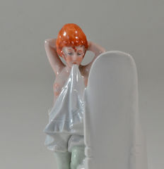 "Vintage porcelain ""erotic"" vase ' Girl looking in Mirror'"