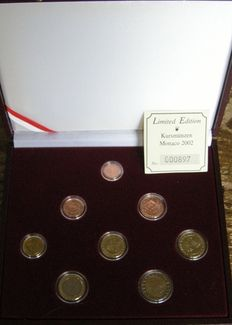 Monaco and France – 8x coins 1999 and 2002 in coffer