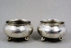 Two silver salt cellars, Russia, 1867