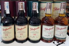 5 bottles Glenfarclas : 2x 2007, 2x 15 years old and 1x Glenfarclas 21 years old