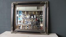 Large wall mirror - Facet cut glass - Hand gilded - antique silver - black - Empire style
