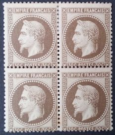 France 1867 – Napoleon III with laurels, 30 c. brown, block of 4 signed Calves – Yvert #30