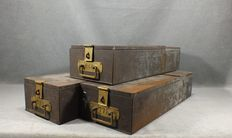 Three vintage bank safe deposit boxes - Spain - First half of the 20th century