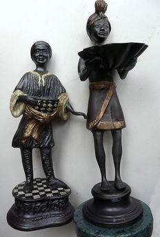Two heavy bronze statues, 2nd half 20th century, the Netherlands