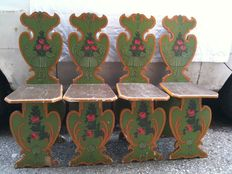 Four Tyrolean wooden chairs - Hand painted and decorated - Circa 1930