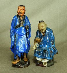 Two beautifully glazed pottery statues - China - 19th century